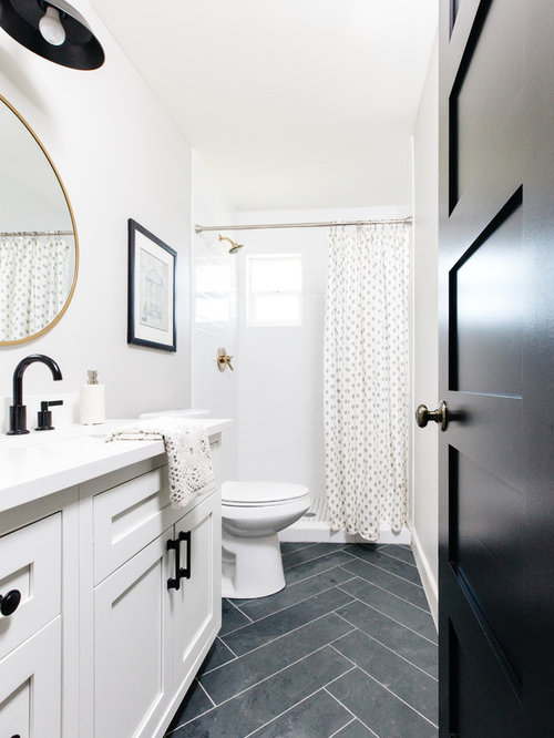 Bathroom   Transitional 3/4 White Tile And Subway Tile Slate Floor And Black  Floor