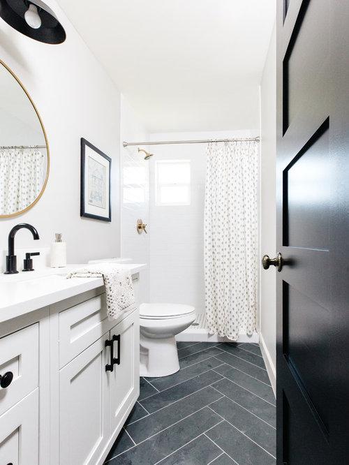 Bathroom - transitional 3/4 white tile and subway tile slate floor and  black floor