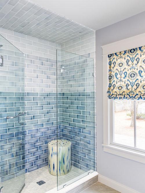 Example Of A Minimalist Blue Tile And Ceramic Tile Ceramic Floor Bathroom  Design In Boston With