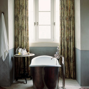 This is an example of a classic bathroom in Orange County with a freestanding bath.