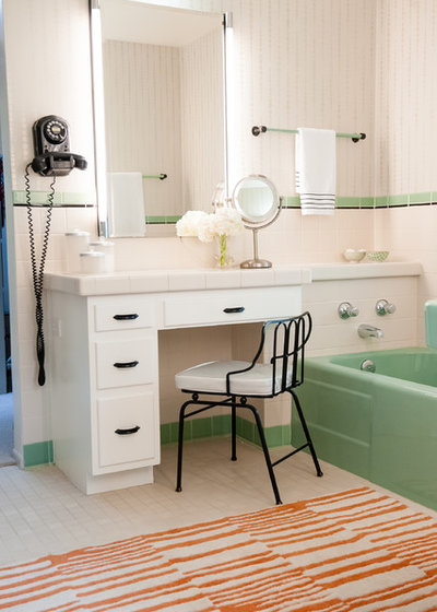 Midcentury Bathroom by Red Egg Design Group