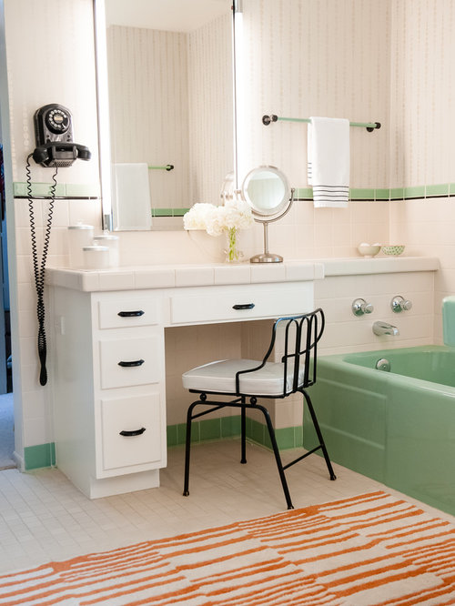inspiration for a small 1950s master white tile and ceramic tile ceramic floor bathroom remodel in