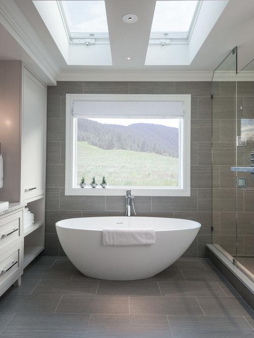 Bathroom Design Ideas Renovations Photos With A Trough Sink And Porcelain Tiles
