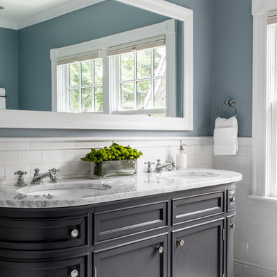 Mid-sized elegant master white tile and ceramic tile marble floor bathroom photo in Boston with an undermount sink, recessed-panel cabinets, gray cabinets, marble countertops and blue walls