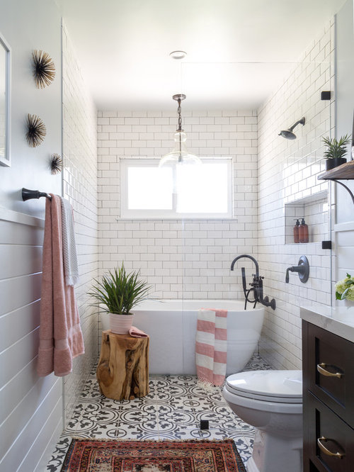 Example Of A Country Master White Tile And Subway Tile Cement Tile Floor Bathroom  Design In