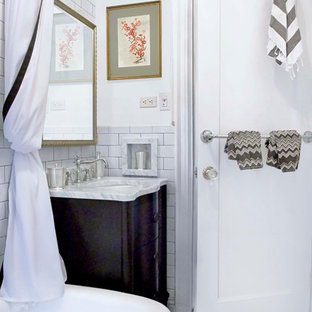 Small Elegant Master White Tile And Subway Tile Porcelain Floor Bathroom  Photo In New York With