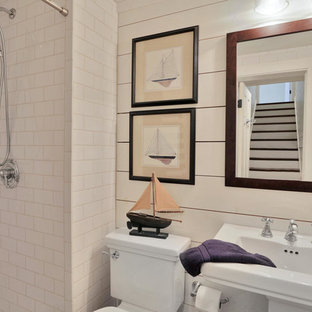 75 beautiful farmhouse bathroom with a pedestal sink