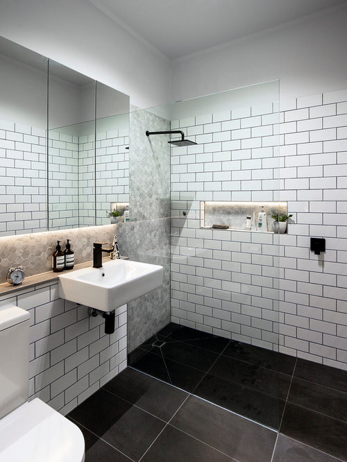 Sleek Modern Dark Bathroom With Glossy Tiled Walls: Subway Tiles With Dark Grout Home Design Ideas, Pictures