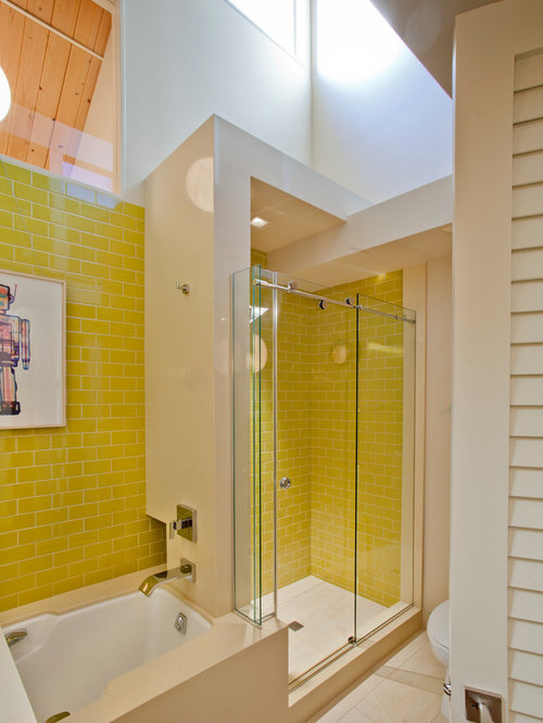 Lovely Example Of A 1950s Bathroom Design In Portland With An Alcove Shower, Yellow  Tile And