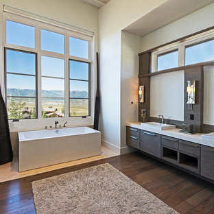Inspiration for a contemporary master dark wood floor bathroom remodel in Salt Lake City with a drop-in sink, flat-panel cabinets, dark wood cabinets and beige walls