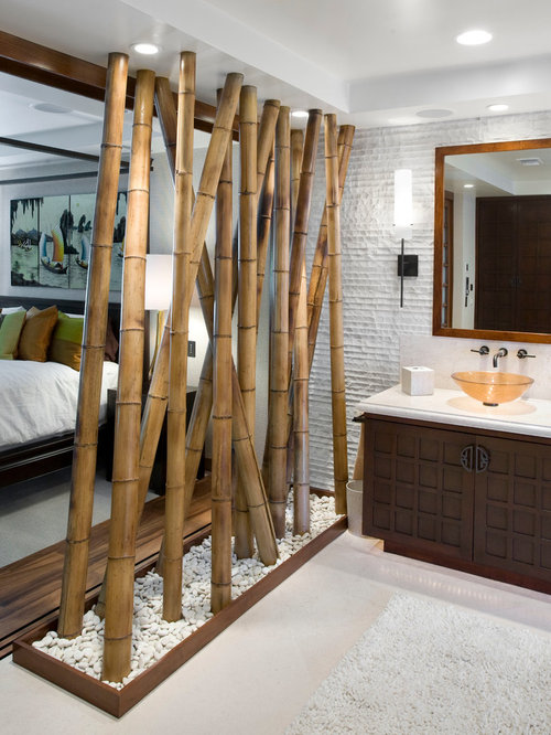 zen bathroom idea in los angeles with a vessel sink - Bamboo Bathroom Design