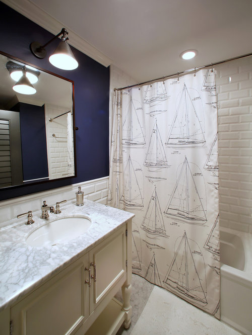 Tropical White Tile And Subway Tile Alcove Bathtub Idea In Tampa With An  Undermount Sink,