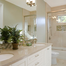 Transitional Bathroom by B.L.Builders, Inc