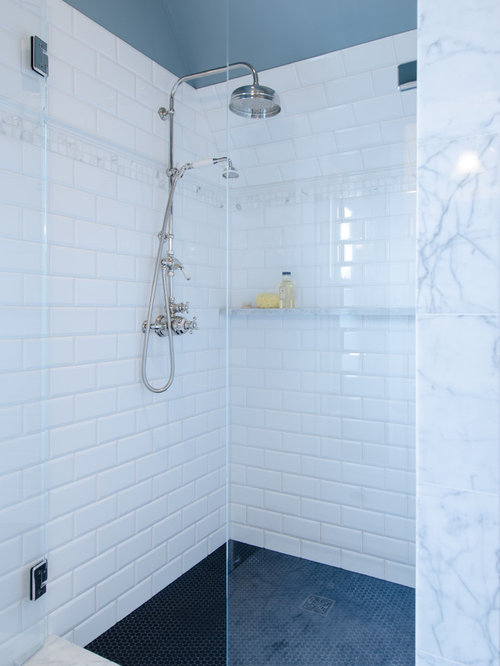 Example Of A Mid Sized Classic Master White Tile And Ceramic Tile Ceramic  Floor Corner