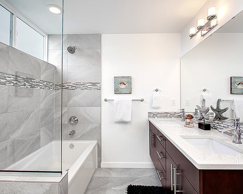 Medium Sized Contemporary Family Bathroom Design Ideas ...