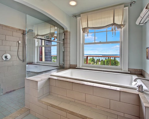 building a roman tub. Inspiration for a craftsman beige tile bathroom remodel in Seattle Roman Tub Faucet  Houzz