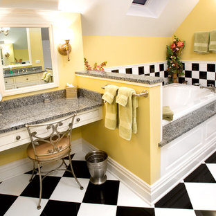 Inspiration For An Eclectic Multicolored Tile Drop In Bathtub Remodel Chicago With White Cabinets