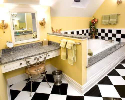 Inspiration For An Eclectic Multicolored Tile Drop In Bathtub Remodel In  Chicago With White Cabinets