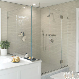 Inspiration for a transitional alcove shower remodel in New York