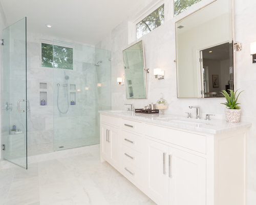 Example Of A Transitional White Tile Alcove Shower Design In DC Metro With An Undermount Sink
