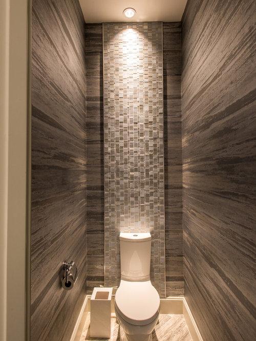 Moderne badezimmer mit braunen w nden ideen f r die badgestaltung for Spiegel wc deco