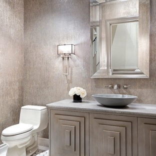 Inspiration for a transitional mosaic tile floor and white floor bathroom remodel in Austin with furniture-like cabinets, light wood cabinets, a one-piece toilet, beige walls and a vessel sink
