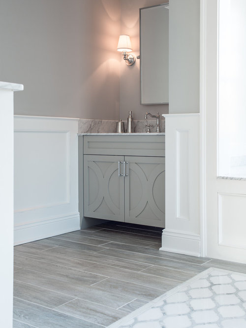 Example Of A Large Transitional Gray Tile Ceramic Floor Bathroom Design In  New York With Furniture
