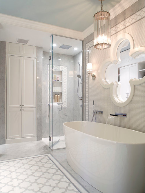 Example Of A Classic Master Gray Tile Bathroom Design In Montreal With A  Hinged Shower Door
