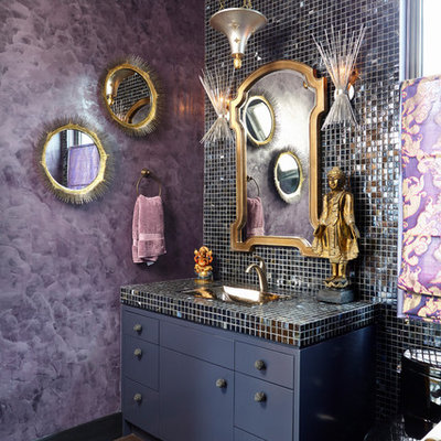 Bathroom - eclectic mosaic tile bathroom idea in New York with flat-panel cabinets, purple walls and tile countertops