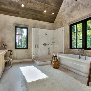 Inspiration for a large rustic master white tile and stone tile marble floor bathroom remodel in Other with an undermount sink, marble countertops, shaker cabinets, light wood cabinets, beige walls and a hinged shower door