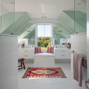 Bathroom - beach style master white floor bathroom idea in Providence with flat-panel cabinets, white cabinets, green walls and an undermount sink