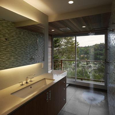 Bathroom - modern mosaic tile bathroom idea in San Francisco with an undermount sink