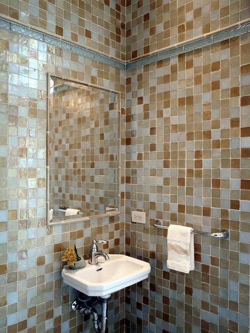 Salle de bain clectique avec un carrelage en p te de verre photos et id es - Carrelage pate de verre salle de bain ...