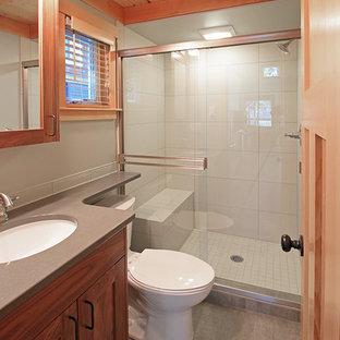 Esempio di una piccola stanza da bagno con doccia stile americano con ante in stile shaker, ante in legno scuro, doccia alcova, WC monopezzo, piastrelle grigie, piastrelle in gres porcellanato, pareti grigie, pavimento in gres porcellanato, lavabo sottopiano e top in quarzo composito
