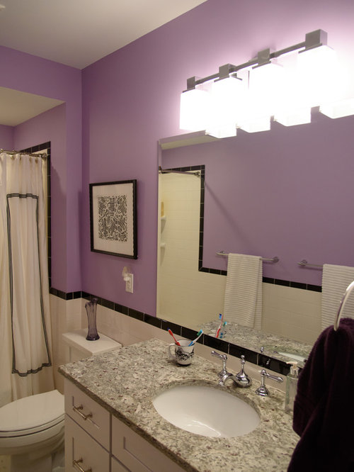 Purple bathroom design ideas remodels photos with black and white tile Purple and black bathroom ideas