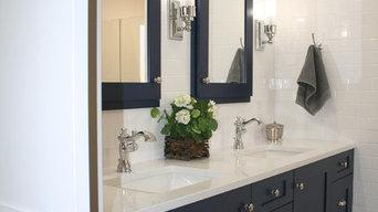 White & Blue Traditional Bathroom