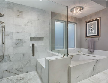 White and Gray Master Bathroom in Austin, TX