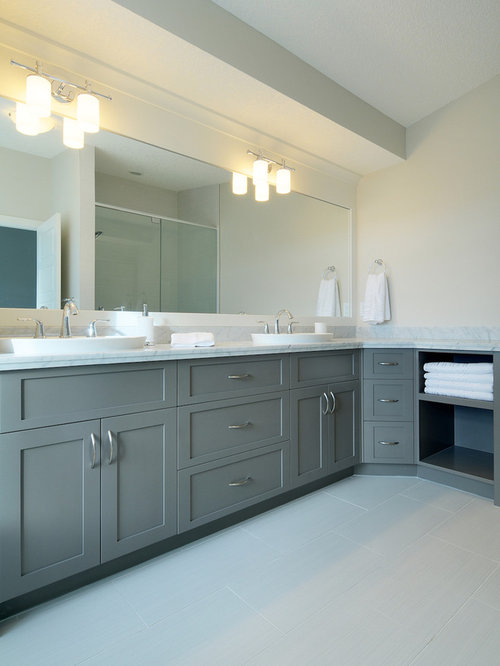 Trendy Gray Tile Bathroom Photo In Calgary With A Vessel Sink, Shaker  Cabinets And Gray Part 45
