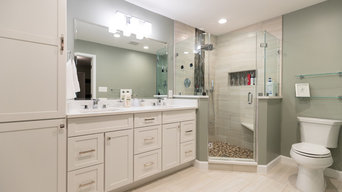 White & Nude Transitional Bathroom