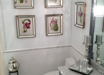 Where did you find the mirror-framed prints? I am looking for a powder room mirror framed that way.