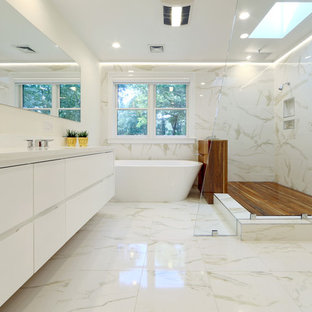 Inspiration For A Contemporary Master White Tile And Marble Floor Bathroom Remodel In Boston