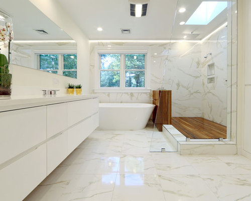 white marble floor home design ideas pictures remodel. Black Bedroom Furniture Sets. Home Design Ideas