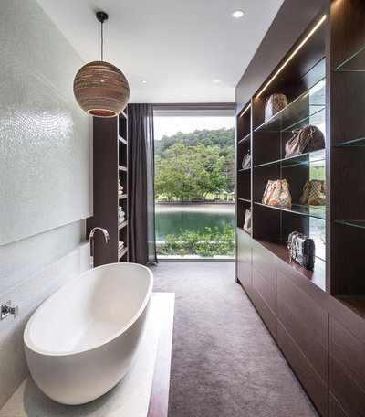 Tropical Bathroom by Tim Ditchfield Architects