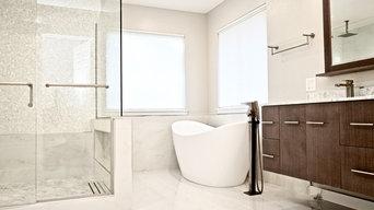 White Carrara Marble Tile Master Bathroom - Millcreek Wa