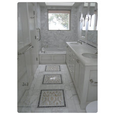 Midcentury Bathroom White Carrera