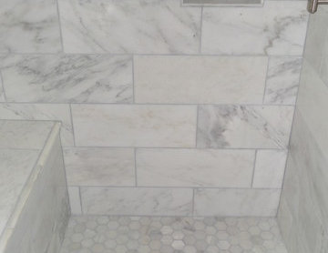 White Carrera Tile- Bath Remodel