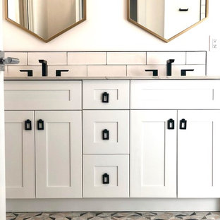 White Gold Black Bathroom Remodel