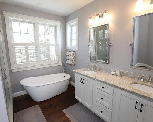 Craftsman Bathroom Design Ideas Remodels Photos With Dark Hardwood Floors