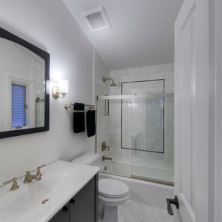 White Marble Guest Bath - Oakbrook Re-Model