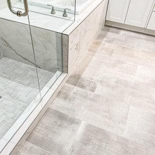 White Marble Patterned Tile Bathroom Remodel